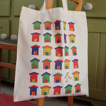 Load image into Gallery viewer, Funny colourful beach huts bag by Cornwall based designer Laura Lee
