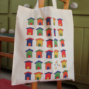 Funny colourful beach huts bag by Cornwall based designer Laura Lee
