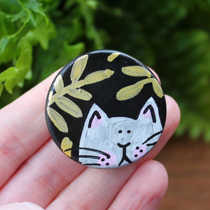 Black dot magnet with gold ferns and white cat by Laura Lee Designs Cornwall