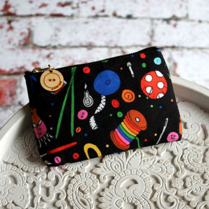 black rainbow sewing pouch by Laura lee designs Cornwall