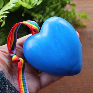 Blue retro 80's rainbow heart by Laura Lee Designs