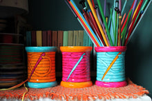 Load image into Gallery viewer, Bobbin Storage Jar - Vase - Knitting Needle Pot - Hand Painted - Fine China