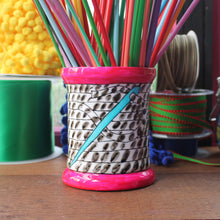 Load image into Gallery viewer, Black and white striped thread bobbin vase knitting needle storage by Laura Lee Designs