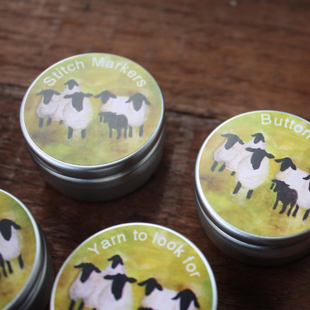 Mini sheep storage tins for knitters and crafters