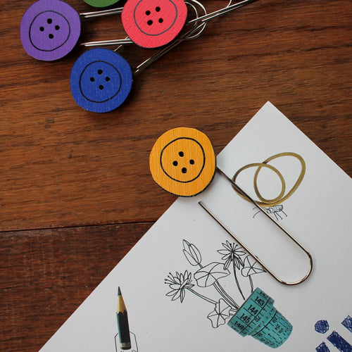 Colourful button bookmark by Laura Lee designs in Cornwall