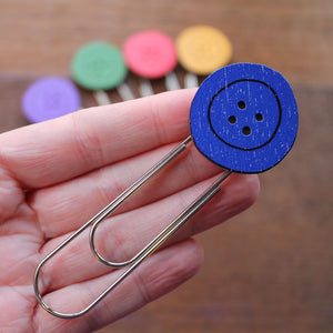 Royal blue button bookmark by Laura Lee Designs Cornwall