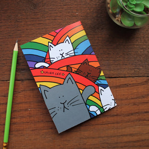 Rainbow cats note book by Laura Lee Designs Cornwall