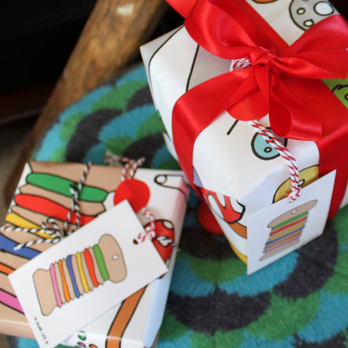Crafters wrapping paper gift wrap pack for sewing knitting by Laura Lee Designs Cornwall