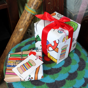 Sewing gift wrap by Laura Lee designs in Cornwall