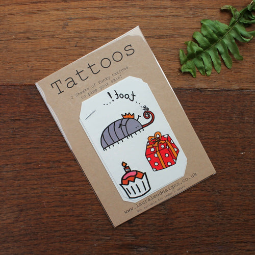 Cyril the woodlouse party tattoos by Laura Lee designs Cornwall