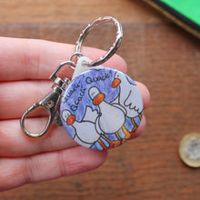 Load image into Gallery viewer, Quacking ducks funny duck keyring by Laura Lee Designs