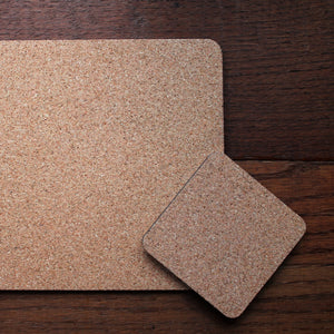 cork backing on coaster and placemat gift set