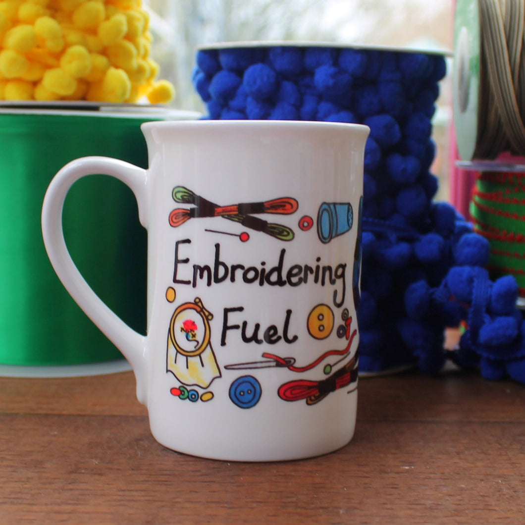 Embroidering fuel mug colourful crafters cup by Laura Lee Designs Cornwall