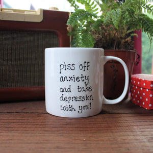 Anxiety and depression funny mug by Laura Lee Designs