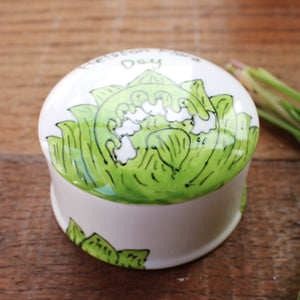 Lily of the valley hand painted trinket by by Laura Lee Designs Cornwall