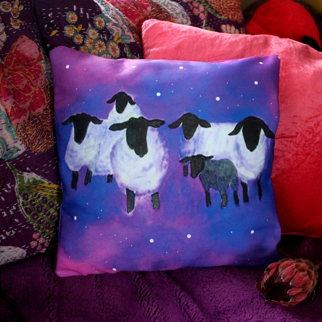Galaxy sheep night time relaxing cushion by Laura Lee Designs