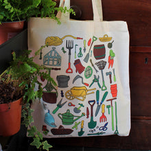 Load image into Gallery viewer, Vintage garden tools tote bag by Laura Lee Designs in Cornwall