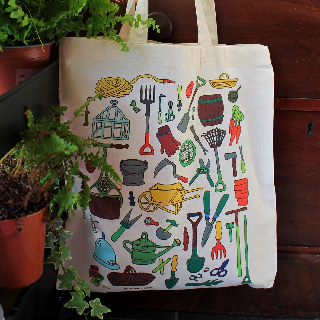 Vintage garden tools tote bag by Laura Lee Designs in Cornwall