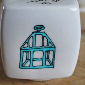 Turquoise Victorian cloche hand painted money box by Laura Lee