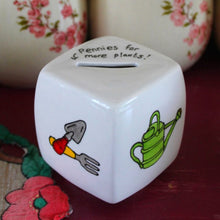 Load image into Gallery viewer, Gardeners money box hand painted fine china money cube