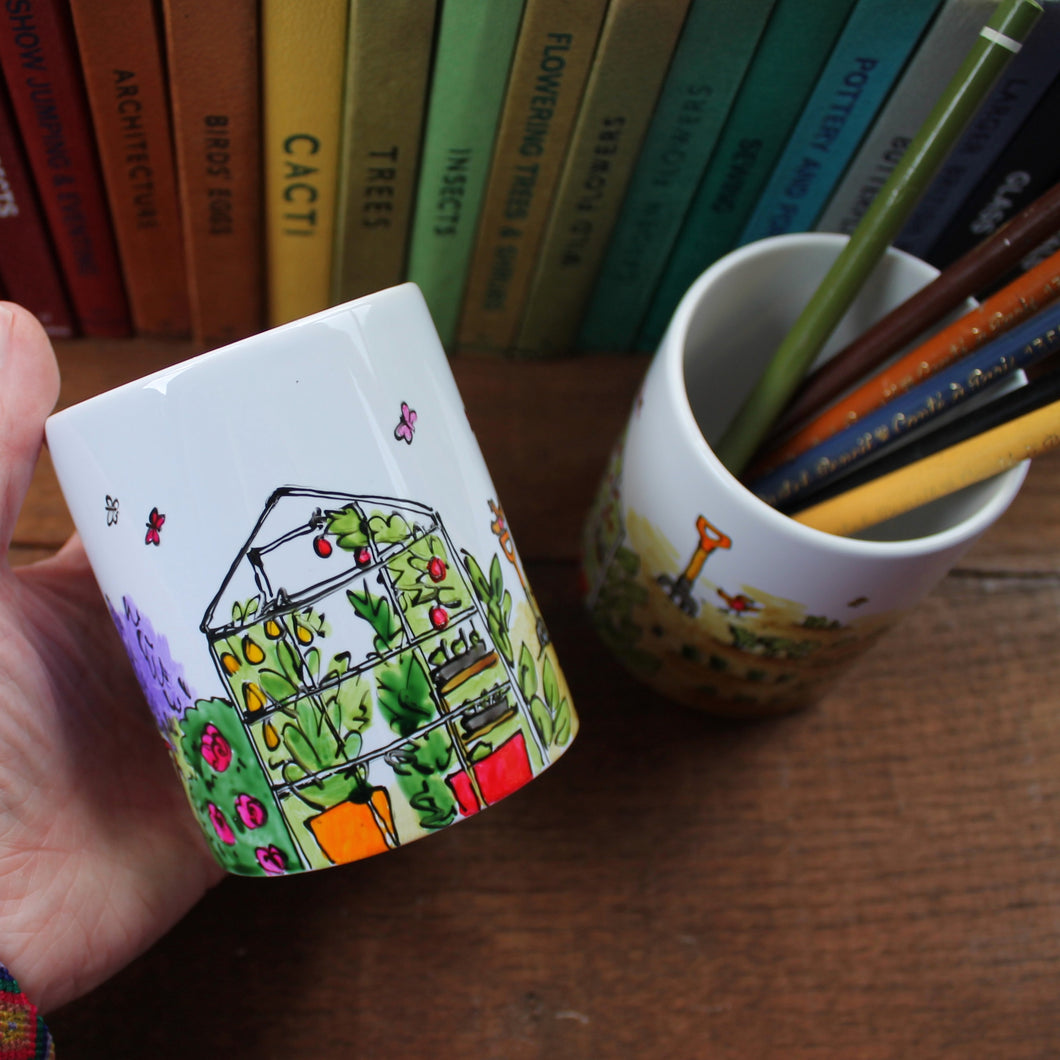 Gardeners pen pot hand painted by Laura Lee Designs