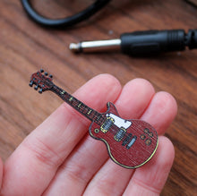 Load image into Gallery viewer, Les Paul style wooden guitar pin brooch Laura Lee Designs Cornwall