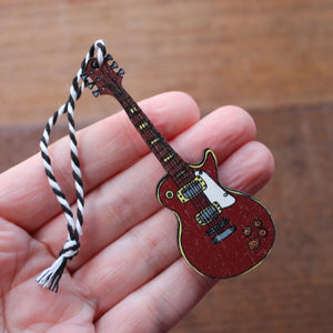 Electric Guitar Hanging Decoration - Les Paul - Wooden - Ornament