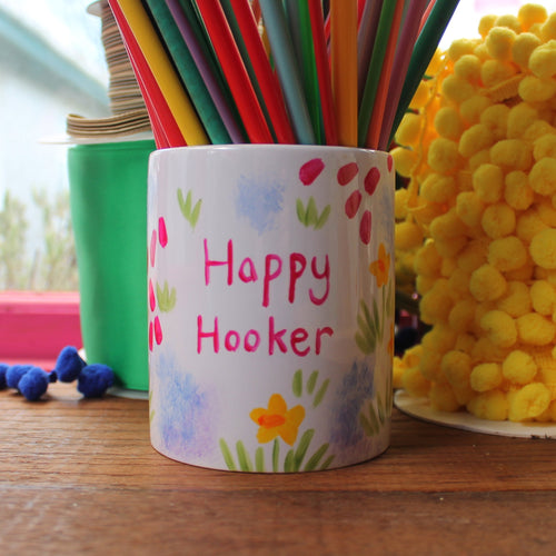 Happy hooker meadow flowers crochet hook jar by Laura lee designs a useful storage pot for crafting odds and ends