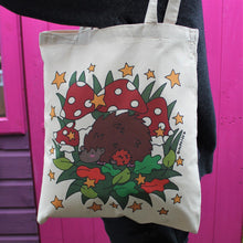 Load image into Gallery viewer, Hedgehog tote bag with spotty mushrooms and stars
