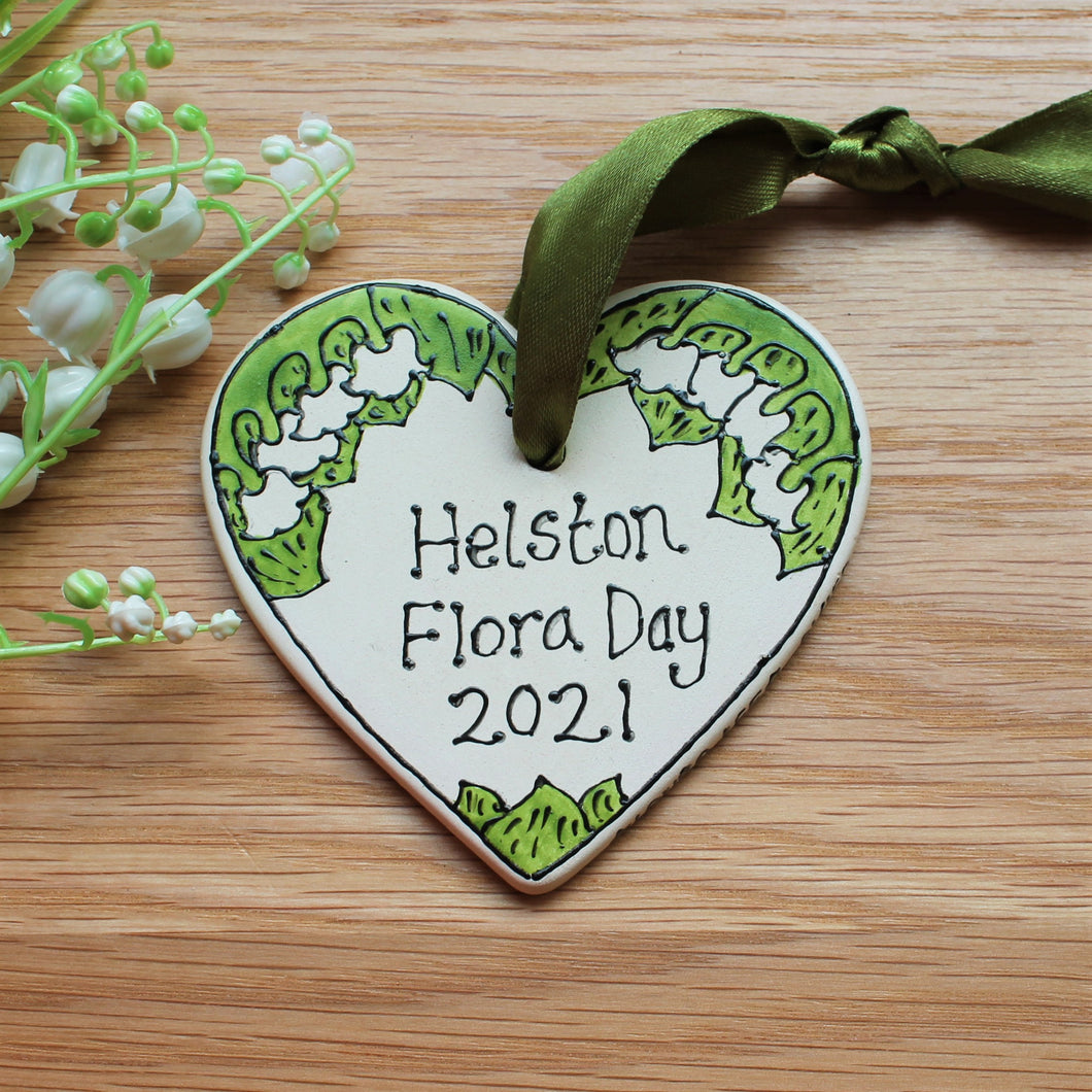 Helston flora day 2021 commemorative lily of the valley heart by Laura Lee Cornwall