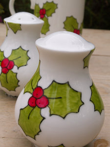 Hand painted holly salt and pepper pot set by Laura Lee designs Cornwall