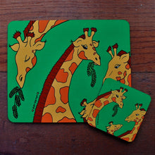 Load image into Gallery viewer, Giraffe placemat and coaster gift set by Laura Lee designs