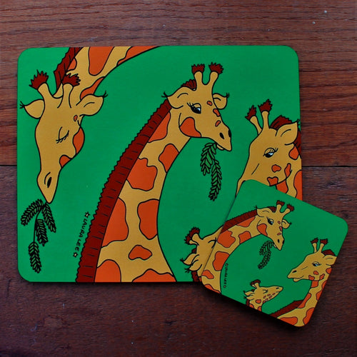 Giraffe placemat and coaster gift set by Laura Lee designs