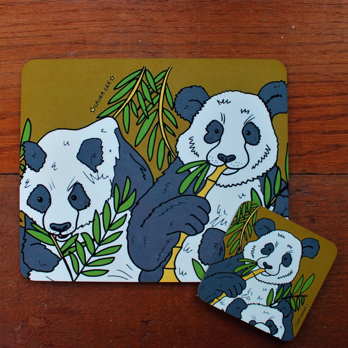 panda coaster and placemat gift set