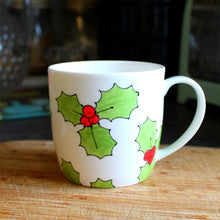 Load image into Gallery viewer, Hand painted holly mug by Laura Lee designs Cornwall