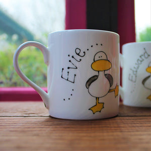 Personalised Duck mug by Laura Lee designs Cornwall