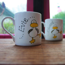 Load image into Gallery viewer, Personalised dancing duck mug by Laura Lee Designs Cornwall