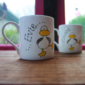 Personalised dancing duck mug by Laura Lee Designs Cornwall