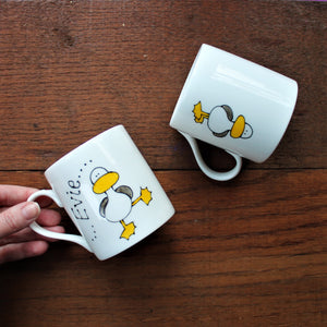 front and back of dancing bird mug by Laura Lee Designs Cornwall