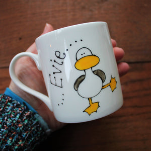 Personalised Duck seagull mug by Laura Lee designs Cornwall