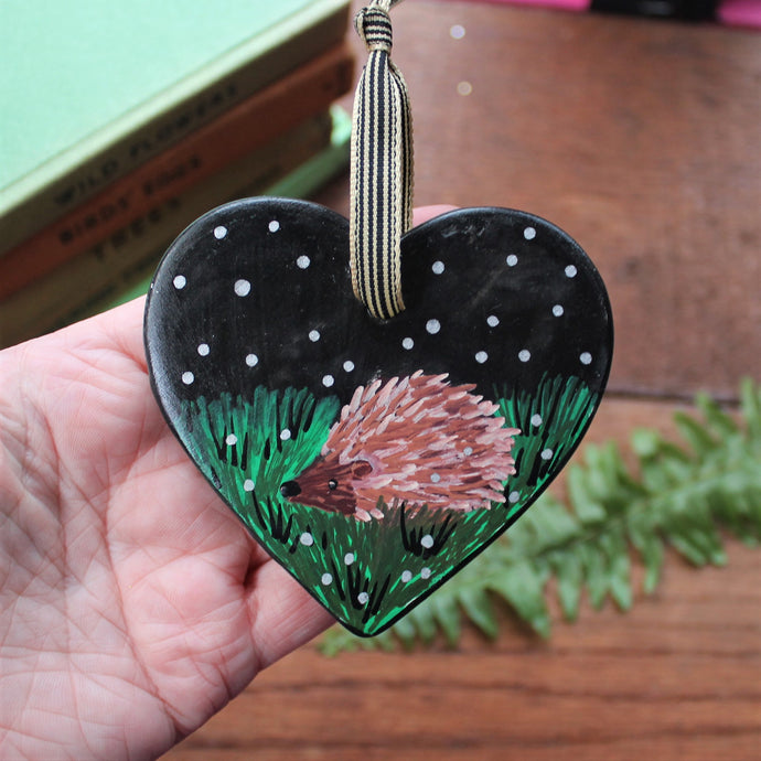 Hedgehog heart with silver stars in the the night sky Laura Lee Designs