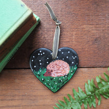 Load image into Gallery viewer, Hedgehog heart with silver stars in the the night sky Laura Lee Designs