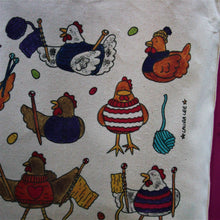 Load image into Gallery viewer, Colourful knitting chickens cotton tote bag by laura lee designs Cornwall