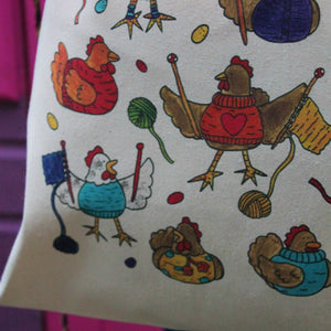 Colourful knitting chickens cotton tote bag by laura lee designs Cornwall