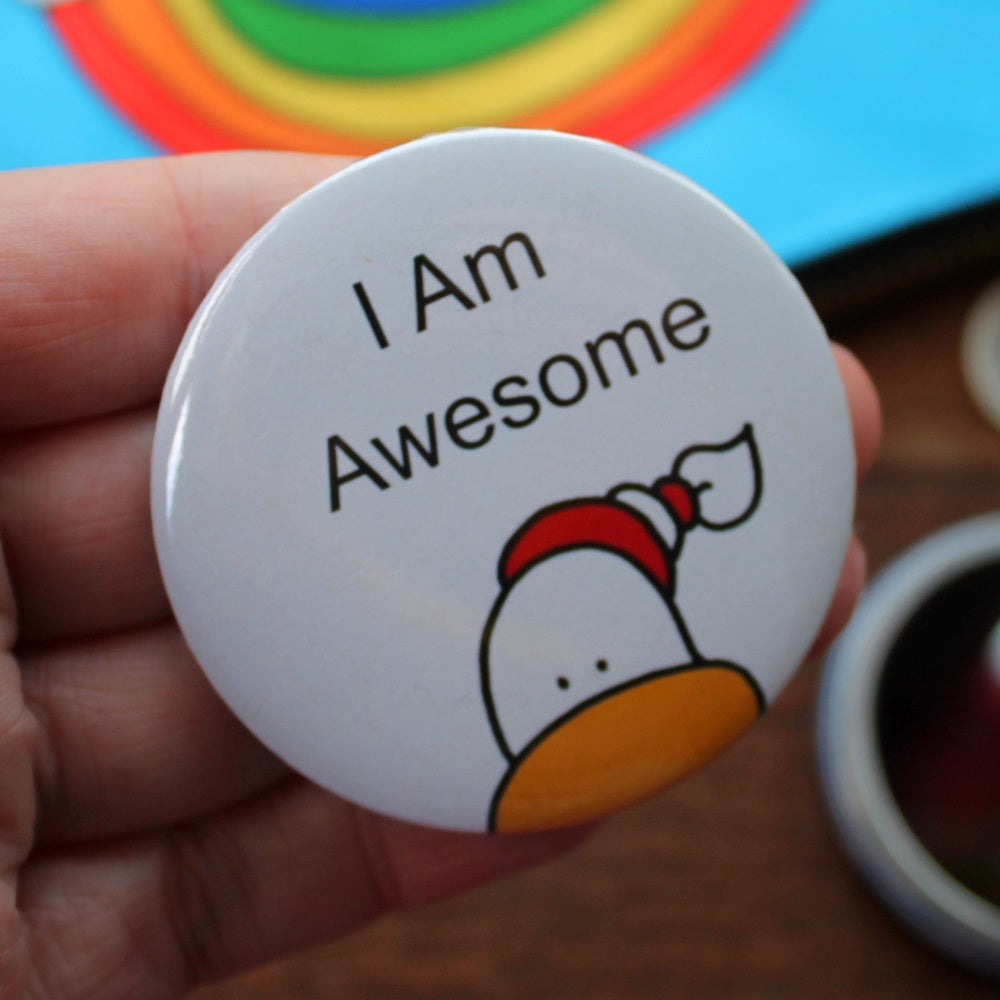 I am awesome seagull duck pocket mirror by Laura Lee Designs