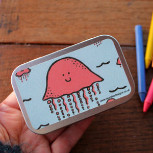 Padstow the jellyfish cute crayon tin by Laura Lee Designs in Cornwall