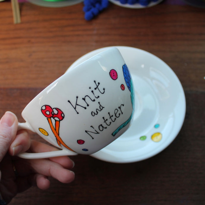 knit and natter teacup and saucer by Laura Lee Designs