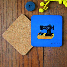 Load image into Gallery viewer, sewing machine coaster blue with black vintage style sewing machine by Laura Lee Designs Cornwall