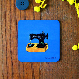 Sewing coaster blue featuring a vintage style sewing machine by Laura Lee desisgns Cornwall colourful homewares and gifts