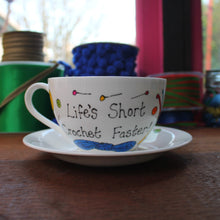 Load image into Gallery viewer, Funny crocheting teacup and saucer by Laura Lee Designs